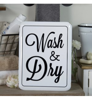 "MTL. SIGN ""WASH & DRY"""
