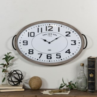 MTL. OVAL WALL CLOCK (1/cs)