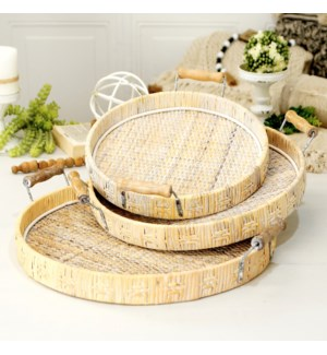 WICKER TRAYS S/3