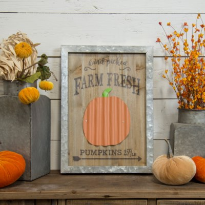 "|WD./MTL. SIGN ""HAND PICKED PUMPKINS"" (1/cs)