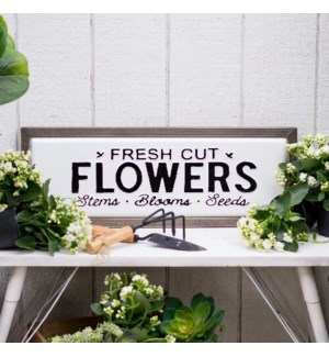 |MTL./WD. SIGN 'FRESH CUT FLOWERS"