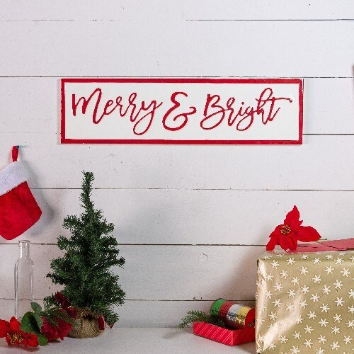 "|MTL. SIGN ""MERRY & BRIGHT""