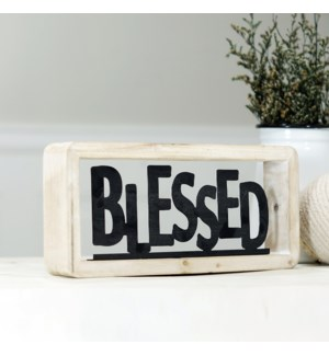 "MTL./WD. TABLETOP DECOR ""BLESSED"""