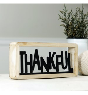 "MTL./WD. TABLETOP DECOR ""THANKFUL"""