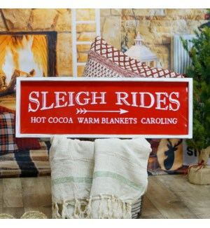 "|MTL/WD. SIGN ""SLEIGH RIDES""