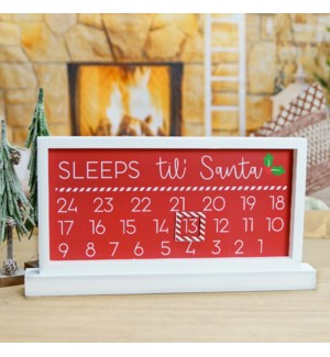 "WD. SIGN ""SLEEPS TIL SANTA"""