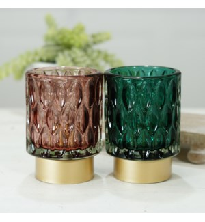 GLASS VOTIVES S/2 W/ LIGHT