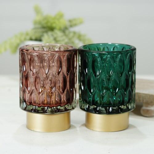GLASS VOTIVES S/2 W/ LIGHT