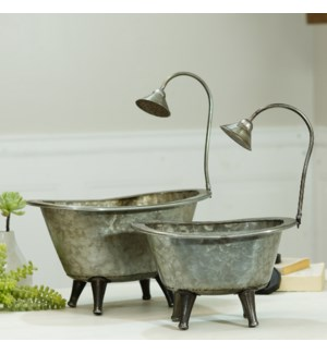 MTL. WASH TUB PLANTERS S/2
