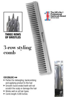 Denman 3 Row Styling Silver Comb WG