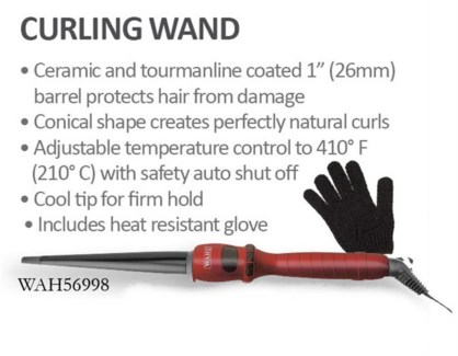 "Wahl 1"" Curling Wand W/Glove 26mm 56998"