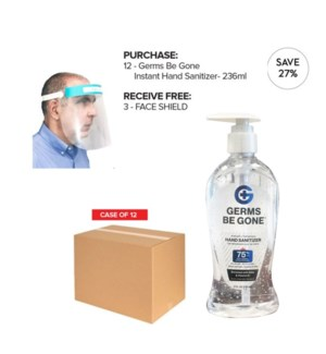 ! PPE 12 x 236ml GERMS BE GONE HAND SANITIZER + 3 FACE SHIELD