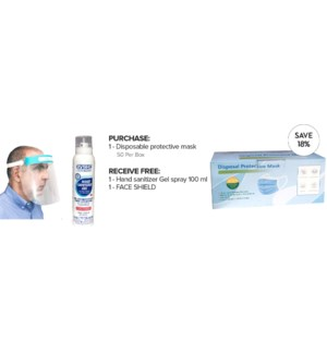 ! PPE Disposable Protective Masks - Box of 50 + Face Shield + Hand Sanitizing Gel