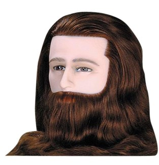 Male Deluxe Mannequin w/ Beard & Moustache, Brown, Approximately 12 Inches