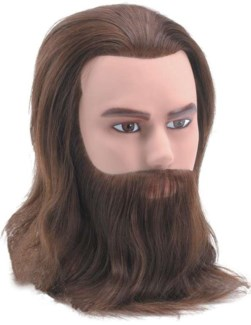 Male Deluxe Mannequin w/ Short Hair Beard & Moustache, Brown, Approximately 8 Inches