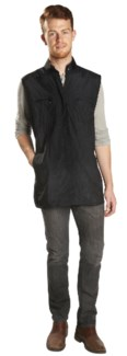Nylon Zippered Vest With Mesh, Black