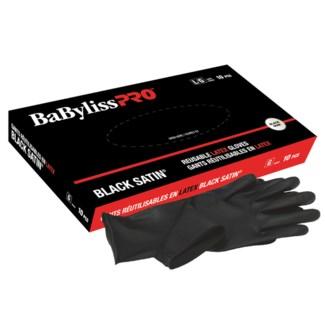 Small Resuable Black Satin Latex Gloves 10/Boz