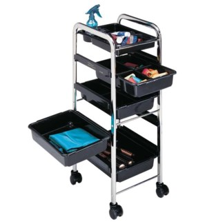 Chrome Frame Trolley, Black