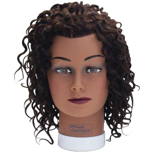 Afro Curl Dark Skin Mannequin Head, Approximately 12 Inches