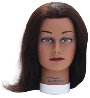Straight Hair Dark Skin Mannequin, Approximately 16 Inches