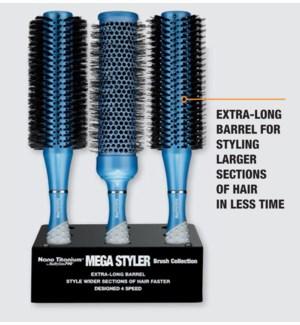 9pc Mega Styler Brush Display BOAR NYLON