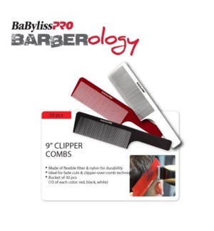 *BF BABYLISSPRO Barberology 9 Inch Barber Combs 30 PCS