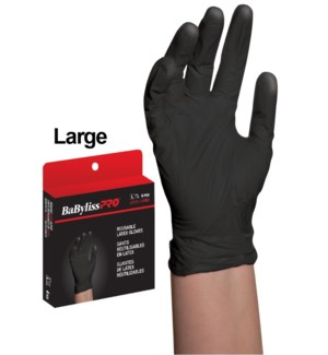 Large Reusable Black Satin Latex Gloves 4/Box