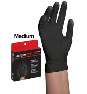 Medium Reusable BlackSatin Latex Gloves 4/Box