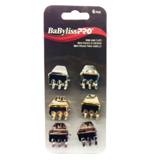 BABYLISSPRO Mini Hair Clips, 6/Pack, Mixed