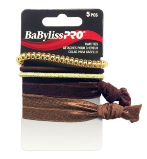 BABYLISSPRO Elastics Hair Ties, 5/Pack w/ Brown and Gold Tones