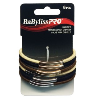 BABYLISSPRO Metal Bar Hair Ties, 6/Pack, Mixed
