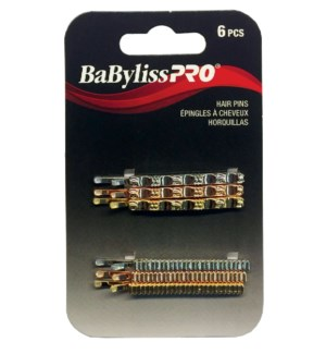 BABYLISSPRO Decorative Crimped Hair Pins , 2 Inch, 6 pcs