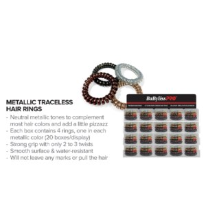 BABYLISS Metallic Hair Rings Display 20pcs