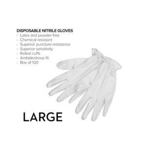 Large Disposable WHITE Nitrile Gloves 100/Box CNBO