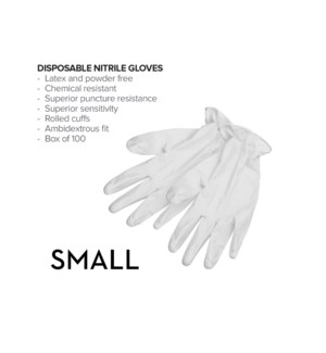 Small Disposable WHITE Nitrile Gloves 100/Box CNBO