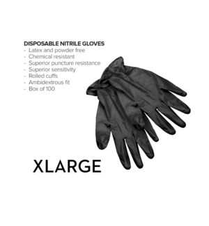 X-Large Disposable Black Nitrile Gloves 100/Box CNBO
