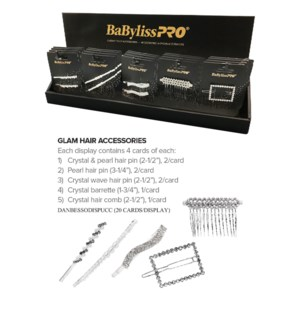 BABYLISS GLAM Hair Accessories 20card Display