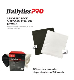 BABYLISS Disposable Salon Towels, box of 50 (25 white, 25 black)