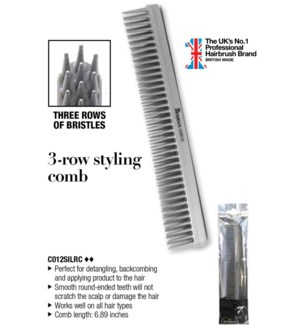 *DMD Denman 3 Row Styling Silver Comb WG
