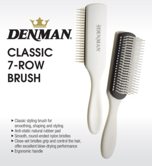 * NEW DENMAN 7-Row Styling Brush, white & black MA19