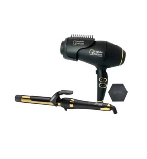 "BabylissPro GXT  1""  Curling Iron + Dryer Duo  RAPHITE SO2020"