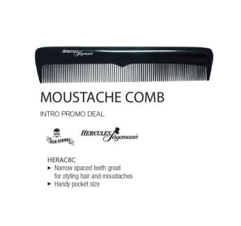 HERCULES Black Premium Hard Rubber Moustache Comb 5 Inch