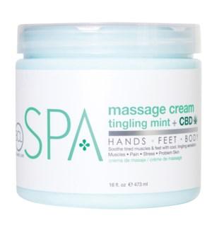 BCL SPA 16 Oz.  Massage Cream Tingling Mint + CBD