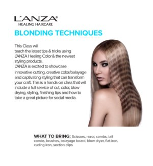 LNZ BLONDING TECHNIQUES SEPT 16/19 BARRIE