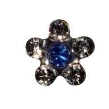 PP Crystal/Sapphire Flower EARRING
