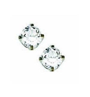 10k White Gold 3mm CZ EARRING