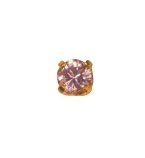 24K GP 3mm Pink Ice Cubic Zirconia EARRI