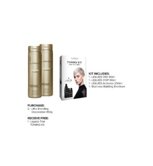 ! 1+1 LNZ Ultra Blonding Decolorizer 450g + DEMI Toning Kit JA19