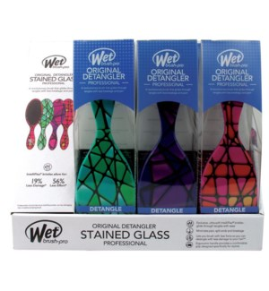 MKW 9pc Stain Glass Wet Brush Display