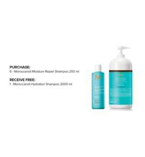 ! 6 250ml MOR Moisture Repair Shamp + 2L Hydrate Shamp FOCUS